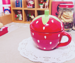 cup, japanese, and strawberry image