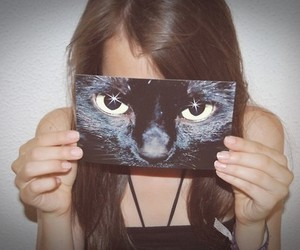 black cat and model image