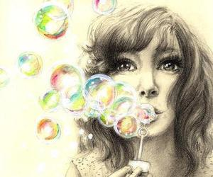 bubbles, girl, and painting image