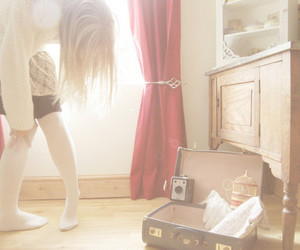 girl, camera, and suitcase image