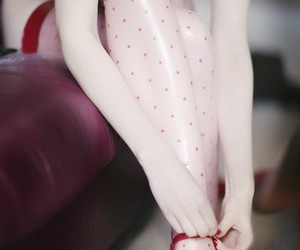 red, girl, and stockings image