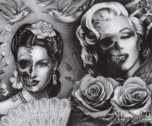b&w, girl, and skulls image