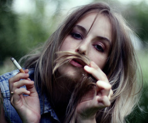fashion, girl, and smoke image