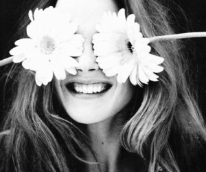 flowers, girl, and smile image