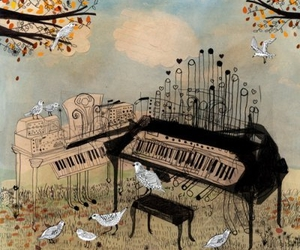 piano, bird, and music image