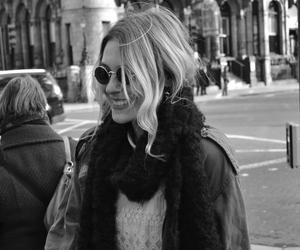 black and white, blonde, and smile image