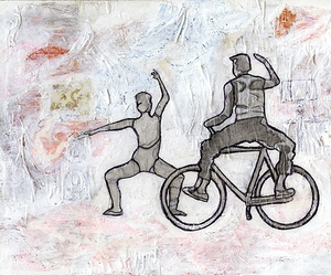 ballet, mixed media, and bicycle image