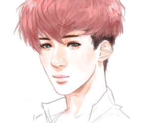 fan art, exo-k, and pink hair image