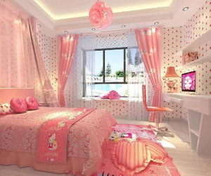 bedroom, girly, and hello kitty image