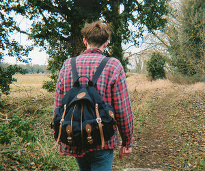 boy, backpack, and forest image