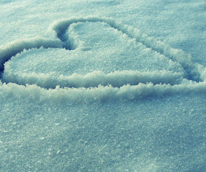 snow, heart, and love image