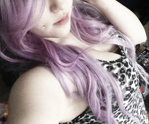 colored hair, make up, and lilac hair image