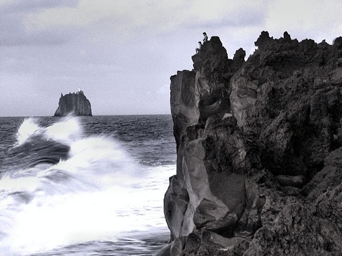 rock, sea, and wind image