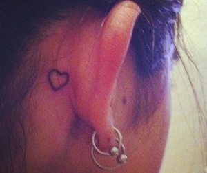 earrings, heart, and tattoo image