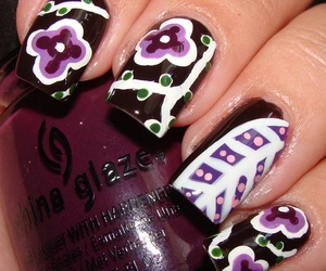 brown, flowers, and nail image