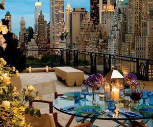 city, roof, and dinner image