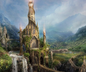 fantasy, castle, and waterfall image