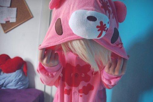 girl, gloomy bear, and pink image
