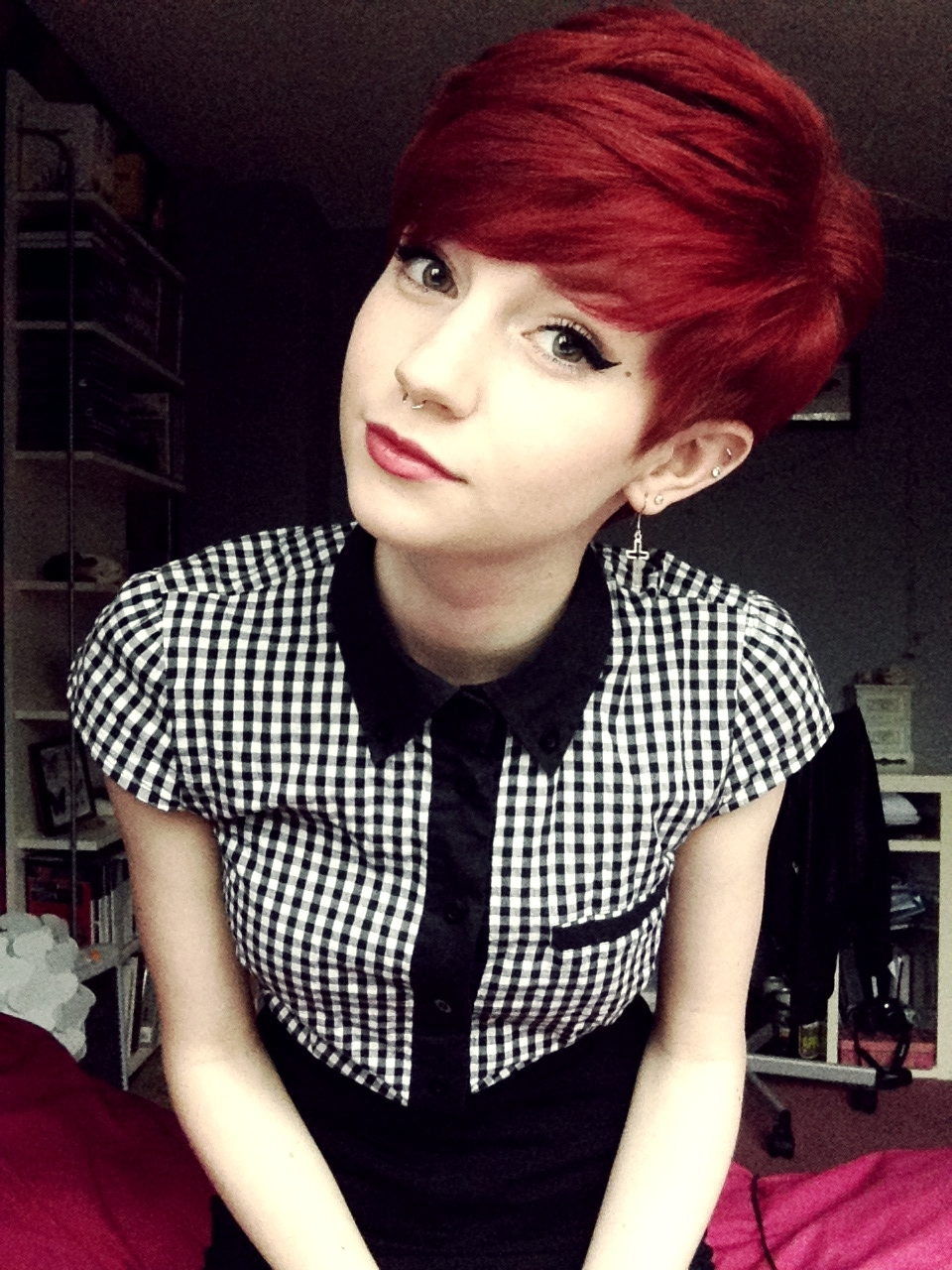 Fashion style Red tumblr cut pixie photo for lady