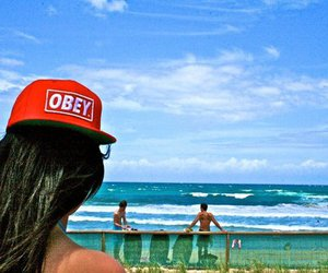girl, obey, and beach image