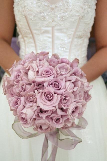 Light Purple Roses Wedding Bouquet On We Heart It