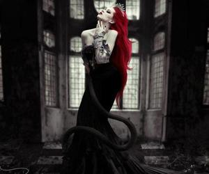 goth, hair, and red hair image