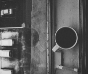 coffee, black and white, and window image