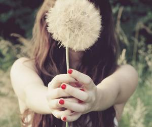girl, flowers, and dandelion image