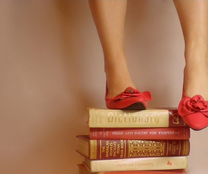 books, heels, and legs image