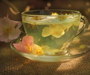 tea, flowers, and cup image