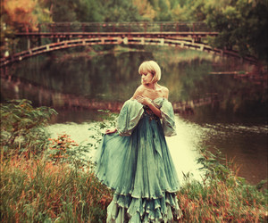 dress, girl, and bridge image