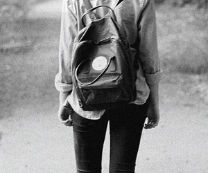 backpack, bag, and black and white image
