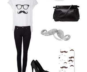 black, fashion, and moustache image