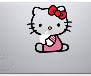apple, decal, and hello kitty image