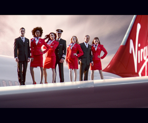 air hostess, red, and travel image