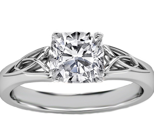 celtic engagement ring and cushion engagement ring image