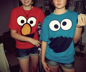 girl, elmo, and cookie monster image
