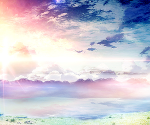 scenery, anime, and sky image