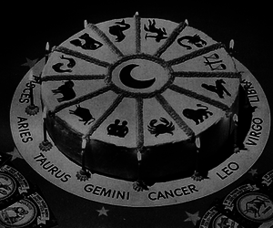 astrology, cake, and black and white image