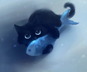 cat, fish, and black image