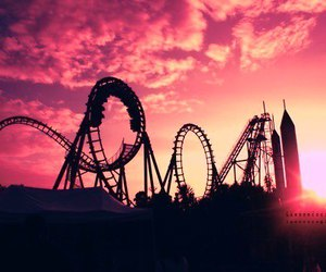 fun, sunset, and Roller Coaster image