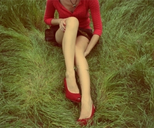 girl, red, and grass image