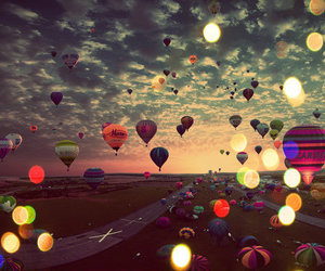 balloons, sky, and light image