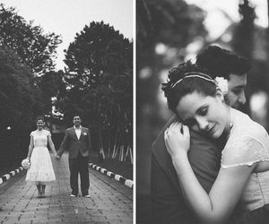 black and white, photo, and couple image