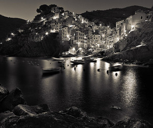 black and white, Greece, and lights image