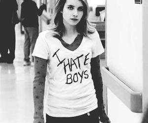 emma roberts, black and white, and boy image