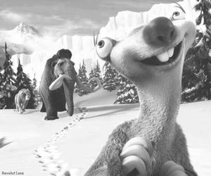 sid, ice age, and black and white image