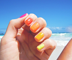 nails, beach, and colorful image