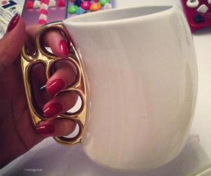 cup, nails, and gold image