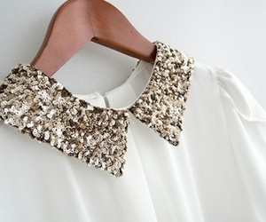 blouse, silver, and white image